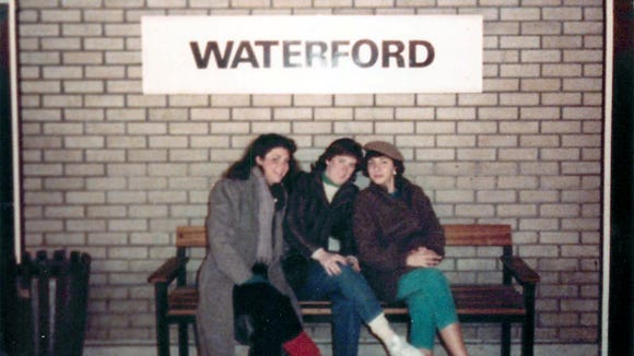 Linda Weiss (from left), Dawn Gilbertson and Sara Winslow waiting for the train in Waterford, Ireland, on St. Patrick's Day in 1985.