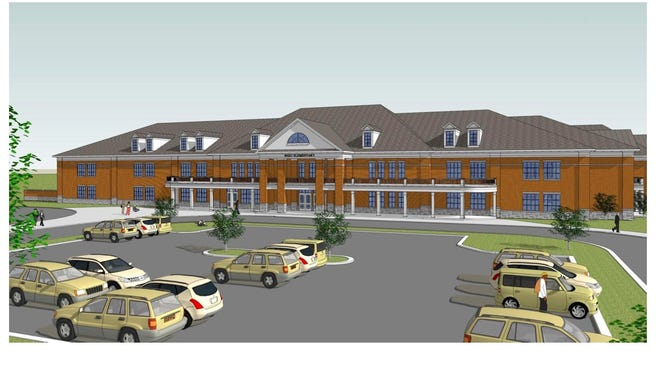 This rendering for a southwest elementary school replicates much of the design for Overall Creek Elementary School. The southwest elementary school will open on St. Andrews Drive near Veterans Parkway and south of New Salem Highway.