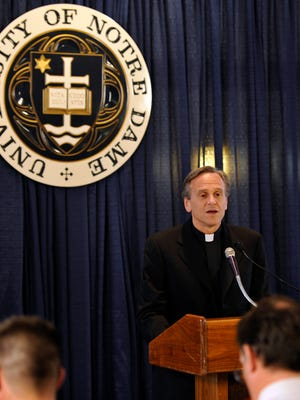 The Rev. John I. Jenkins, president of the University of Notre Dame, in a file photo Oct. 28, 2010 in South Bend, Ind.