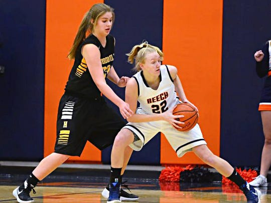 Hendersonville junior center Makenzie Branch pressures