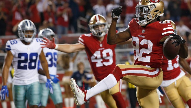 San Francisco 49ers wide receiver Richie James (82) celebrates after scoring a touchdown against the Dallas Cowboys during the second half of an NFL preseason football game in Santa Clara, Calif., Thursday, Aug. 9, 2018. (AP Photo/Josie Lepe)