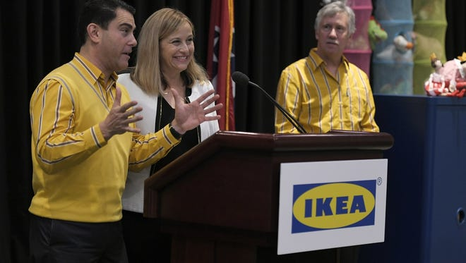 IKEA Expansion Public Affairs Manager Joseph Roth,left, and Nashville Mayor Megan Barry announce that IKEA is submitting plans for a Nashville store during a press conference at Music City Center on Thursday, May 25, 2017.