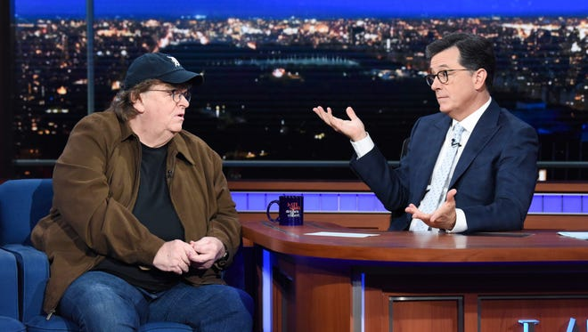 """Stephen Colbert and guest Michael Moore during the Thursday, June 28, 2018, """"The Late Show with Stephen Colbert."""""""