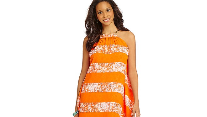 Keep cool with there airy sundresses. Peninsula stripe halter dress by MICHAEL Michael Kors, $150 at Dillard's.