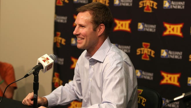 Former Iowa State head basketball coach Fred Hoiberg addressed members during a press conference on Friday, June 5, 2015, in Ames, Iowa. Hoiberg recently accepted the head coaching job with the Chicago Bulls.