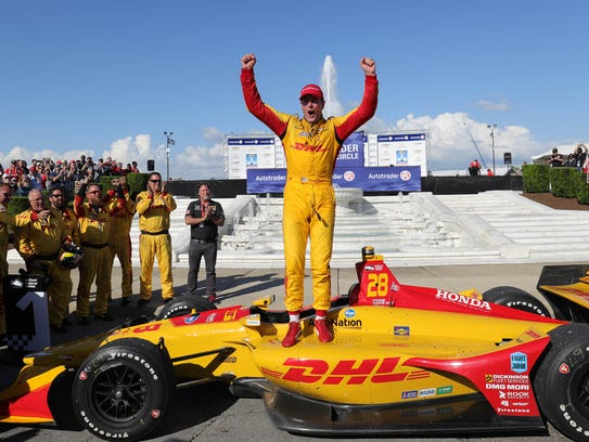 Ryan Hunter-Reay celebrates after winning Sunday.