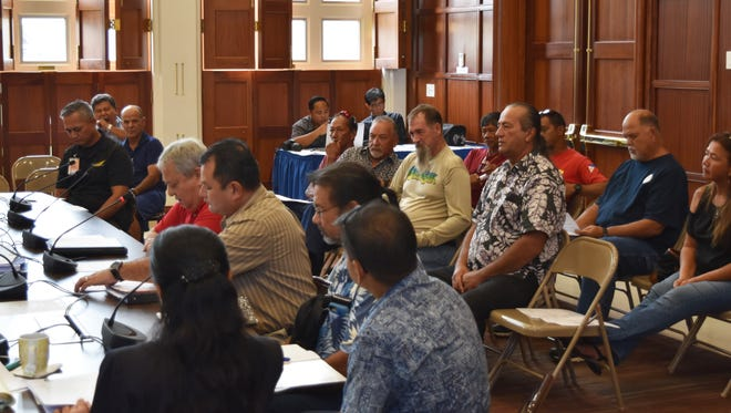 A roundtable discussion on net fishing is held at the Guam Congress Building in Hagåtña on Sept. 5, 2017.