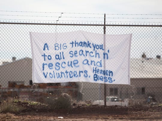 A makeshift sign Saturday, Sept. 26, 2015, thanks volunteer rescuers and emergency responders for their efforts in the wake of last year's deadly flooding in Hildale.