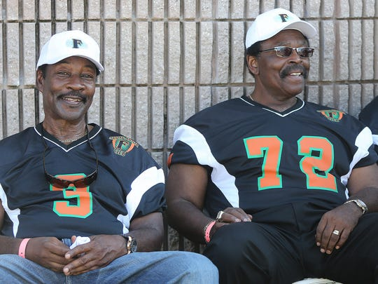 Former Florida A&M head coaches Ken Riley, left, and Joe Taylor attended the Rattlers' home opener last season.