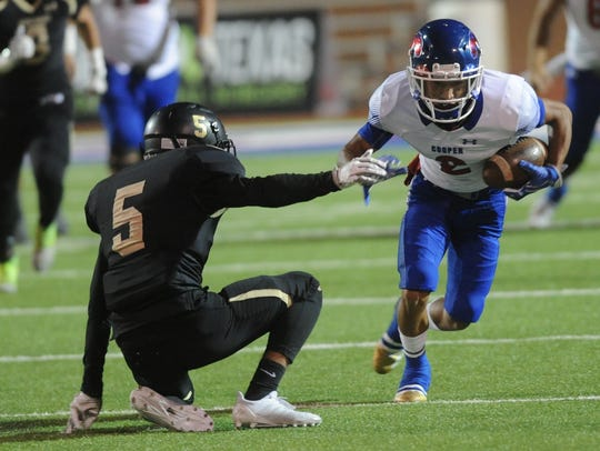 Cooper's Daelin Campos, right, slips past Lubbock High's