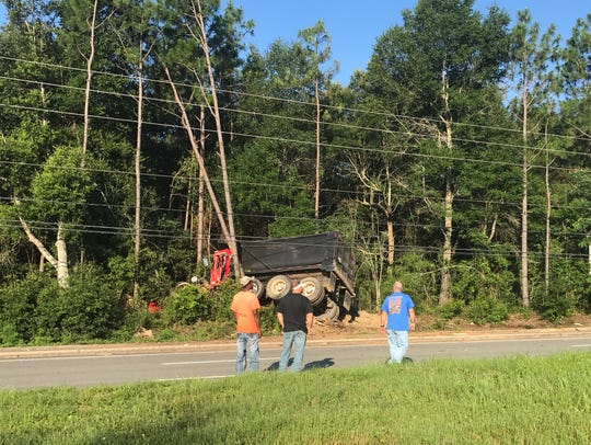 A dump truck appears to be caught behind trees and