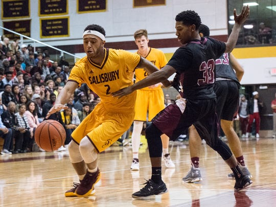 Salisbury University's Jordan Brooks (2) moves the ball during a game against Washington College on Wednesday, Nov. 15, 2017.