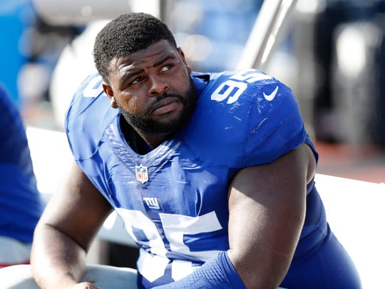 Aug 20, 2016; Orchard Park, NY, USA; New York Giants defensive tackle Johnathan Hankins (95) during the game against the Buffalo Bills at New Era Field. Mandatory Credit: Kevin Hoffman-USA TODAY Sports