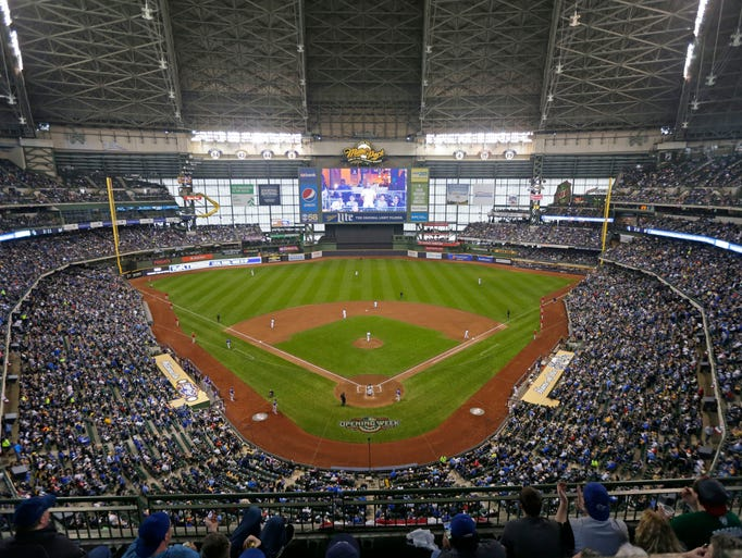 A crowded Miller Park on opening day as the Milwaukee