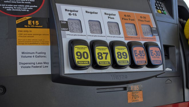 This July 11, 2012, handout photo provided by the Renewable Fuels Association shows a Lawrence, Kan., fueling station pump with various grades of fuel, including E15, which contains 5 percent more ethanol than the current 10 percent norm sold at most U.S. gas stations. (AP Photo/Renewable Fuels Association, Robert White)