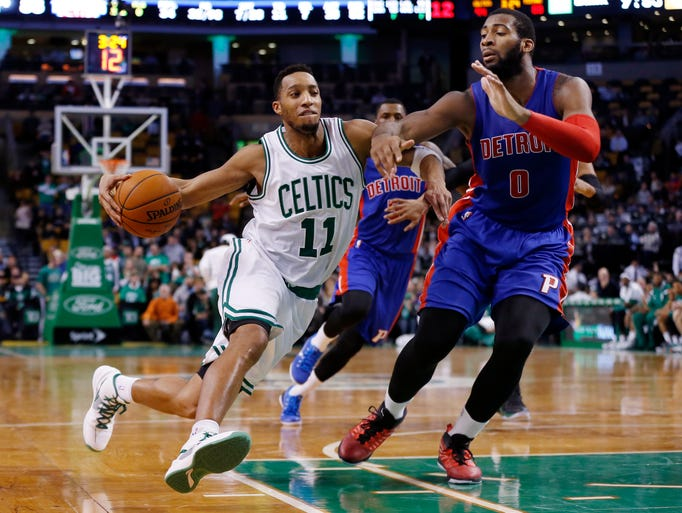 Boston Celtics guard Evan Turner (11) drives on Detroit