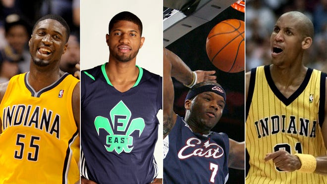 Multiple-time Indiana Pacers All-Stars (from left): Roy Hibbert, Paul George, Jermaine O'Neal, Reggie Miller.