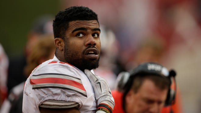 Ohio State's Ezekiel Elliott in action during the second half of an NCAA football game against Indiana, Saturday, Oct. 3, 2015, in Bloomington, Ind.
