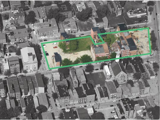 An aerial highlighted view of the proposed renovations at 15th and Race. Plans reflect 3CDC's development push northward in Over-the-Rhine.
