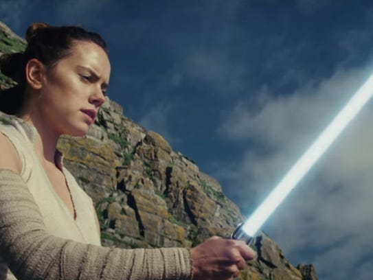 "Daisy Ridley as Rey in ""Star Wars: The Last Jedi."""