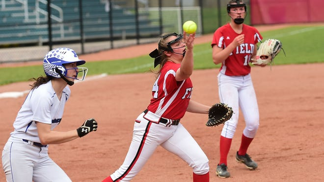 Field's Emily Eckhart makes a throw during regional play in 2019.