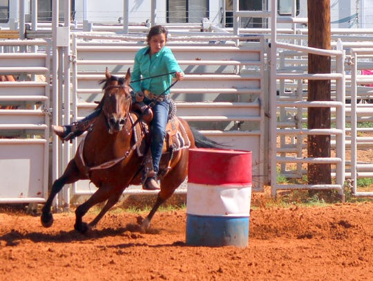 Turning a barrel during a recent competition is senior