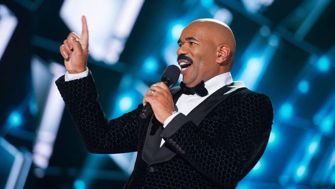 Steve Harvey hosts the 2015 Miss Universe Telecast on Dec. 20, 2015 in Las Vegas, Nev.