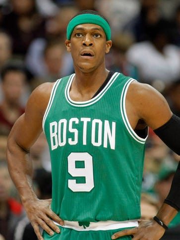 Celtics guard Rajon Rondo reacts during a game against
