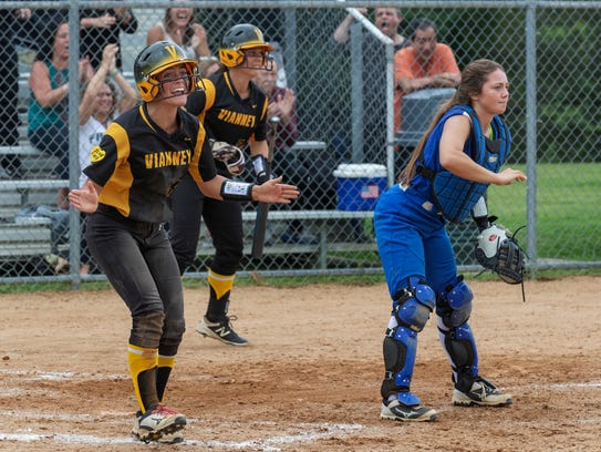 St. John Vianney's Charly Parker celebrates after crossing