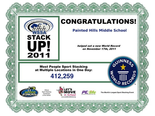 In 2011, Painted Middle School students earned this certificate for their contribution in smashing a stacking record.