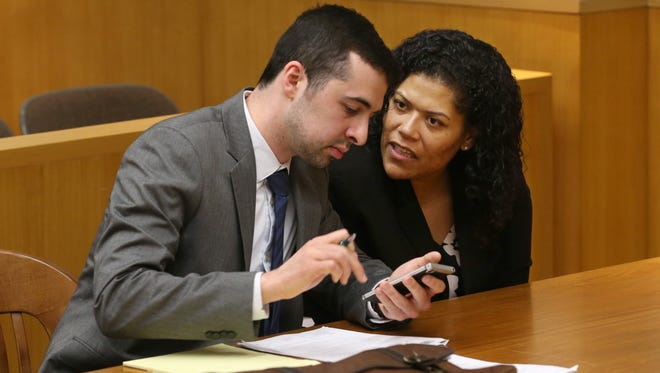 Judge Leticia Astacio with her attorney Mark Foti were back in court before Judge Stephen Aronson at the Hall of Justice in Rochester on Friday, April 27, 2018.