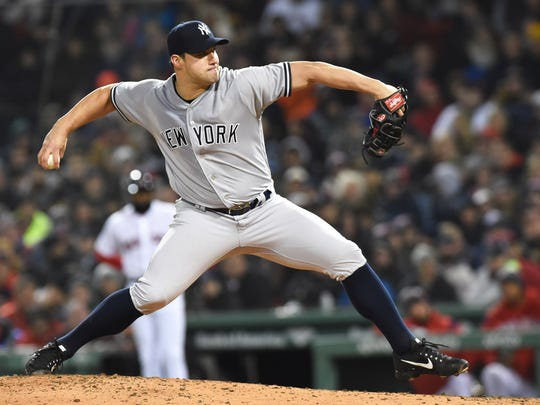 Apr 10, 2018; Boston, MA, USA; New York Yankees relief pitcher Tommy Kahnle (48) pitches during the sixth inning against the Boston Red Sox at Fenway Park. Mandatory Credit: Bob DeChiara-USA TODAY Sports