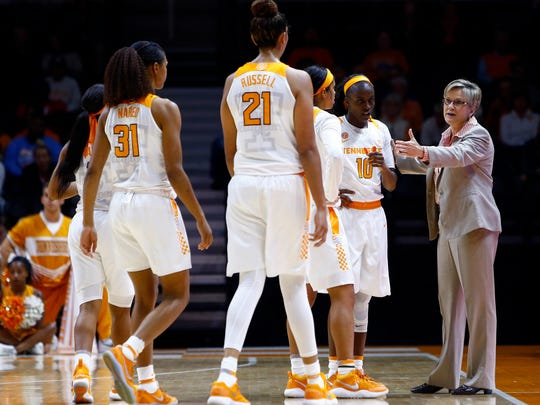 Tennessee head coach Holly Warlick talks to her players during a timeout in their game against East Tennessee State, Sunday, Nov. 12, 2017, in Nashville, Tenn.