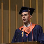 Connor Headrick addresses his graduating classmates and hundreds more at Louisiana College's 158th commencement service.