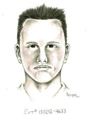 This undated artist rendition provided by the Las Vegas Metropolitan Police Department shows a composite sketch of a suspect police are seeking the publics assistance in identifying, whom they believed was involved in a road rage shooting in Las Vegas on Feb. 12, 2015.