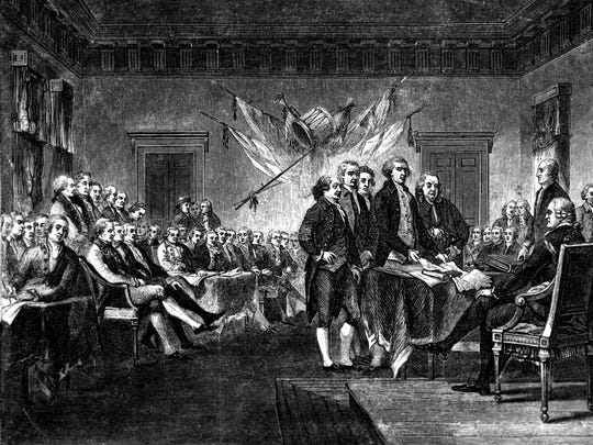 This undated engraving shows the scene on July 4, 1776, when the Declaration of Independence was approved by the Continental Congress in Philadelphia, Pa.