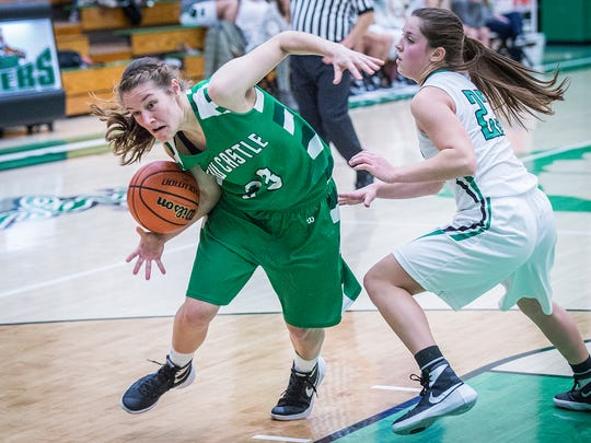 New Castle's Sarah Downs fights past Yorktown's defense