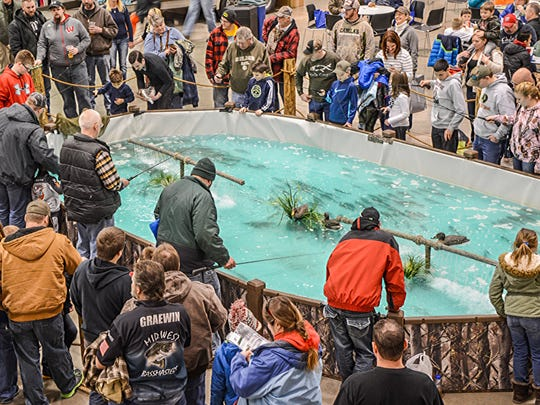 Trout ponds at fishing expos always draw anglers of all ages.