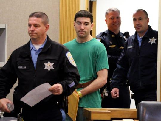 Joseph Villani enters Superior Court Judge Joseph Oxley's