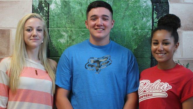 Delsea Regional High School Army JROTC cadets (from left) Kyrsten Piper, Matthew Eggink and Desiree Perez.