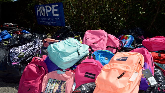 New Rochelle-based HOPE Community Services collected 800 backpacks and filled them with school supplies to give to low-income students.