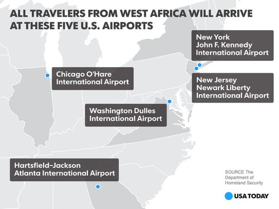 All travelers from Liberia, Sierra Leone and Guinea