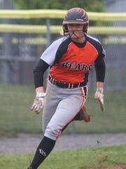 Gibsonburg's Allie Teeple runs the bases against Crestview.
