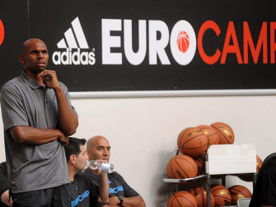 TREVISO, ITALY - JUNE 08:  Coach Jerry Stackhouse of team USA looks on during adidas Eurocamp day two at La Ghirada sports center on June 8, 2014 in Treviso, Italy.  (Photo by Roberto Serra/Iguana Press/Getty Images)