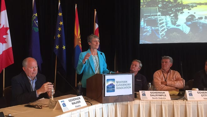 Interior Secretary Sally Jewell speaks to Western governors on Wednesday.