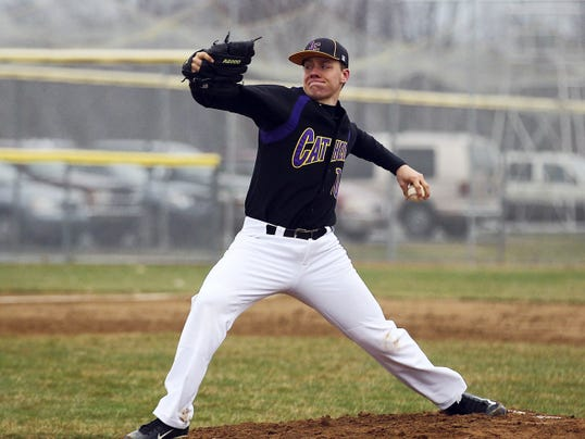 Lancaster Catholic's Dillon Marsh pitches during a 5-0 win over Annville-Cleona on Thursday at Annville-Cleona High School.