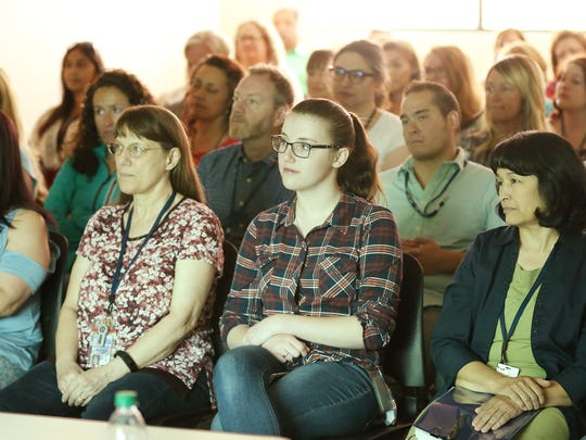 Utah's Office of Recovery Services staff listen during a directors forum in Salt Lake City on Saturday, Aug. 11, 2018. The department is tasked with improving child support payments in the state.
