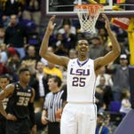 LSU Tigers forward Jordan Mickey (25), shown here during a win over Missouri, has decided to enter the NBA Draft in June and will not play his junior and senior seasons with the Tigers,