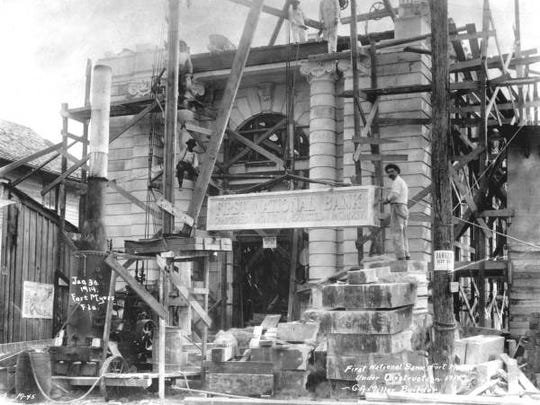The construction of First National Bank in Fort Myers in 1915.