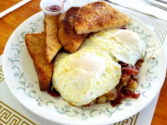 Mary's Gourmet Kitchen's corned beef hash was chopped